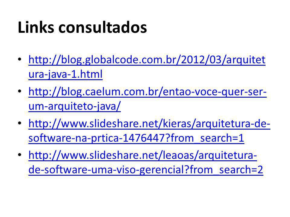 Links consultados http://blog.globalcode.com.br/2012/03/arquitet ura-java-1.html http://blog.globalcode.com.br/2012/03/arquitet ura-java-1.html http:/