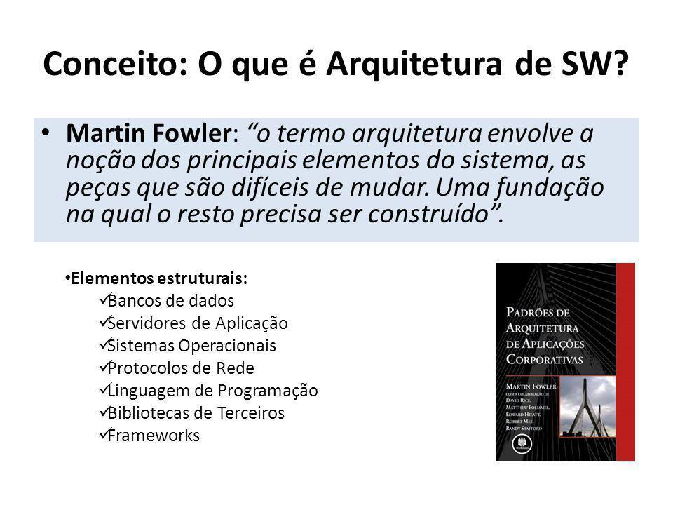 Martin Fowler: o termo arquitetura envolve a noção dos principais elementos do sistema, as peças que são difíceis de mudar. Uma fundação na qual o res
