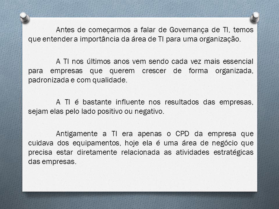Antes de começarmos a falar de Governança de TI, temos que entender a importância da área de TI para uma organização. A TI nos últimos anos vem sendo