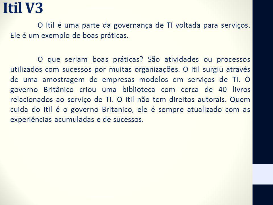 Itil V3 O Itil é uma parte da governança de TI voltada para serviços. Ele é um exemplo de boas práticas. O que seriam boas práticas? São atividades ou