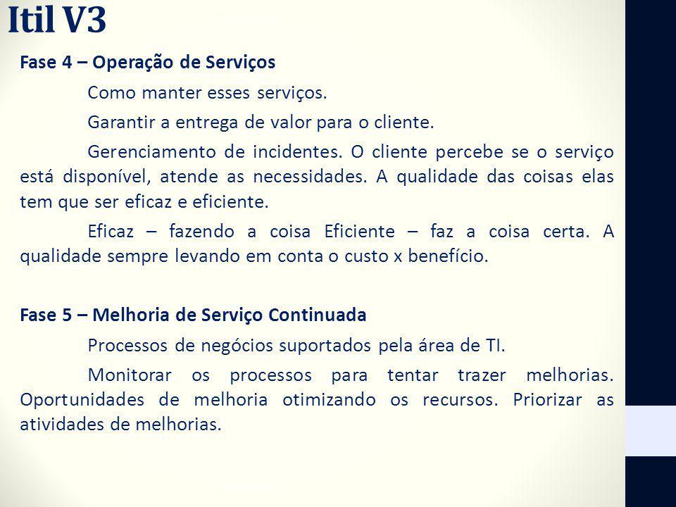 Itil V3 Fase 4 – Operação de Serviços Como manter esses serviços. Garantir a entrega de valor para o cliente. Gerenciamento de incidentes. O cliente p