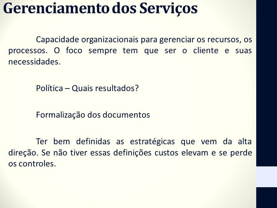 Gerenciamento dos Serviços Capacidade organizacionais para gerenciar os recursos, os processos. O foco sempre tem que ser o cliente e suas necessidade