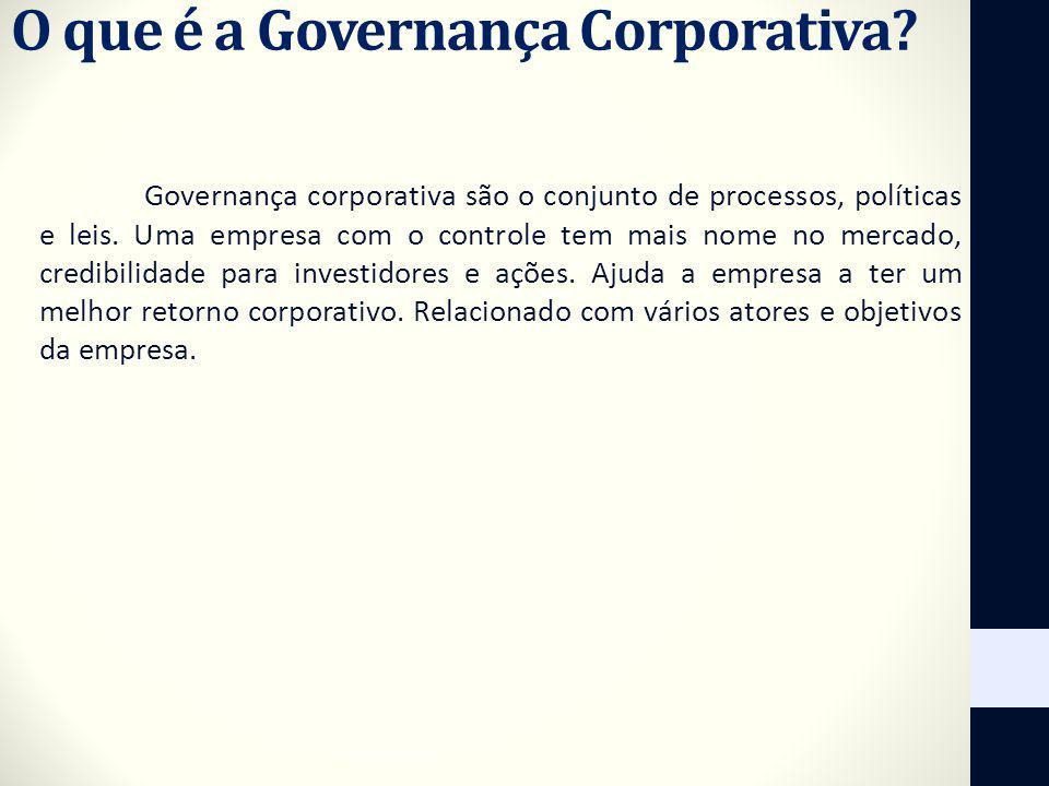 O que é a Governança Corporativa? Governança corporativa são o conjunto de processos, políticas e leis. Uma empresa com o controle tem mais nome no me