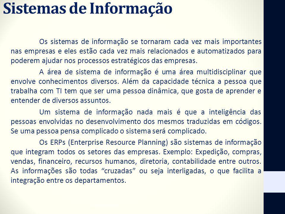 Sistemas de Informação Os sistemas de informação se tornaram cada vez mais importantes nas empresas e eles estão cada vez mais relacionados e automati