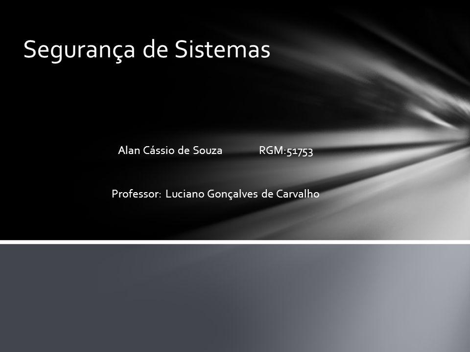 Segurança de Sistemas Alan Cássio de Souza RGM:51753 Professor: Luciano Gonçalves de Carvalho
