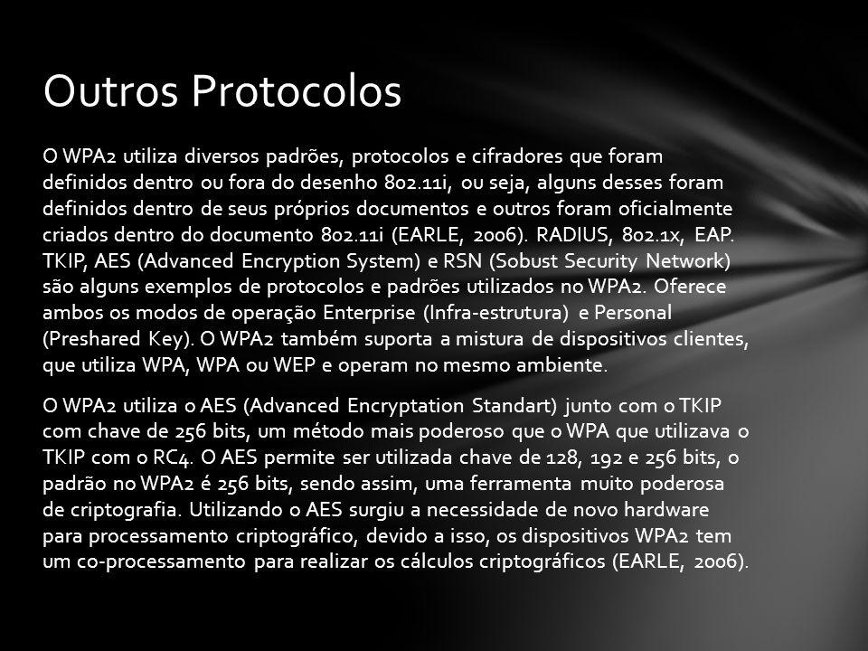 O WPA2 utiliza diversos padrões, protocolos e cifradores que foram definidos dentro ou fora do desenho 802.11i, ou seja, alguns desses foram definidos