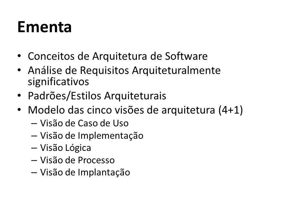 Ementa Conceitos de Arquitetura de Software Análise de Requisitos Arquiteturalmente significativos Padrões/Estilos Arquiteturais Modelo das cinco visõ