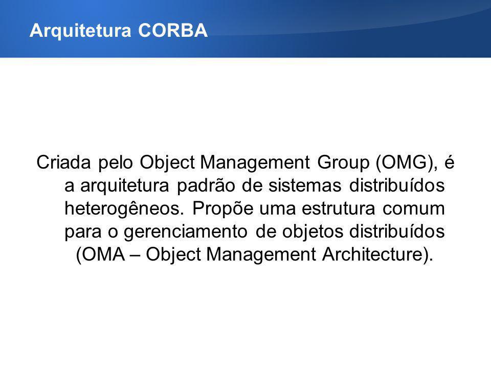 Arquitetura CORBA – Características Implementação do ORB – Object Request Broker –Módulo intermediário entre o cliente e o servidor –Corretor para troca de mensagens (requisição / resposta) –Invocação remota de métodos –Cliente e servidor não se conhecem diretamente –MIDDLEWARE