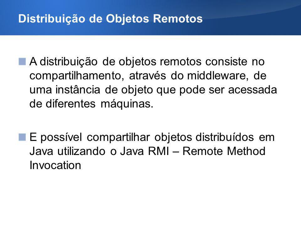 Distribuição de Objetos Remotos A distribuição de objetos remotos consiste no compartilhamento, através do middleware, de uma instância de objeto que