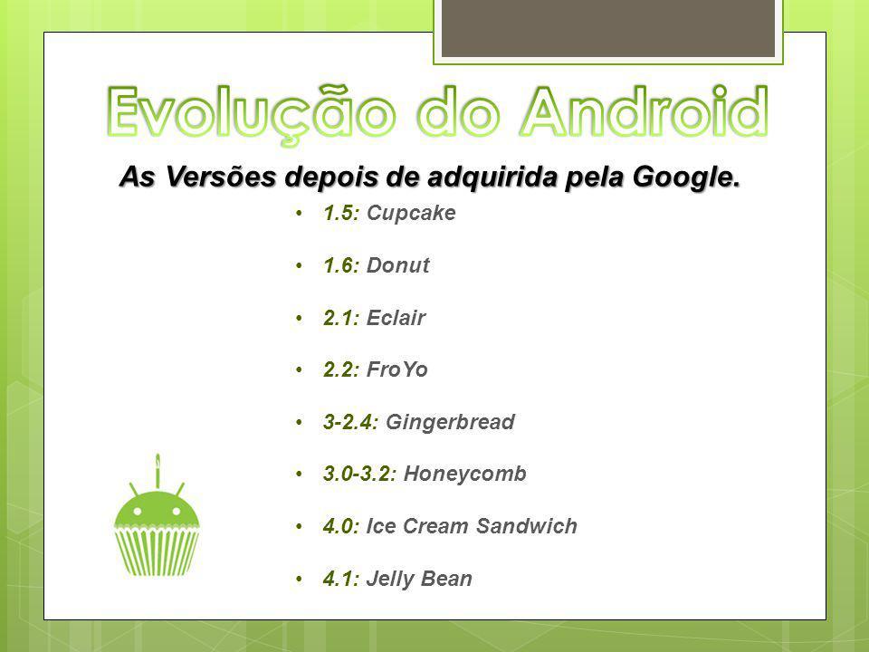 As Versões depois de adquirida pela Google. 1.5: Cupcake 1.6: Donut 2.1: Eclair 2.2: FroYo 3-2.4: Gingerbread 3.0-3.2: Honeycomb 4.0: Ice Cream Sandwi