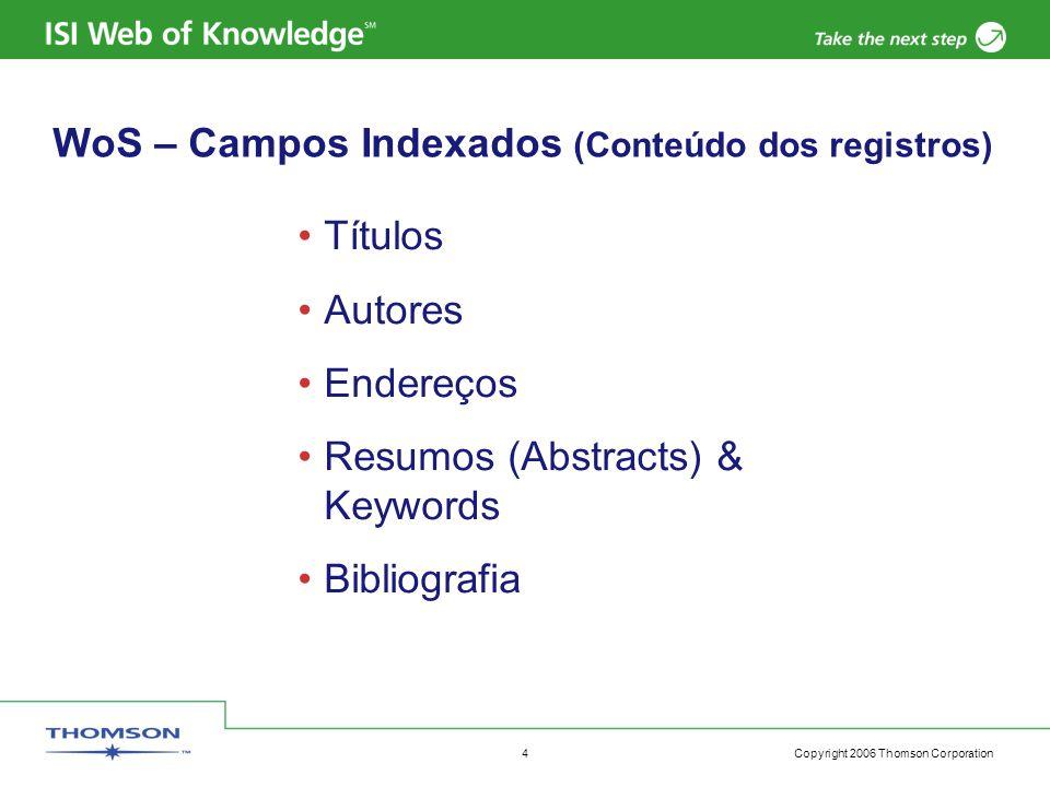 Copyright 2006 Thomson Corporation 4 Títulos Autores Endereços Resumos (Abstracts) & Keywords Bibliografia WoS – Campos Indexados (Conteúdo dos registros)