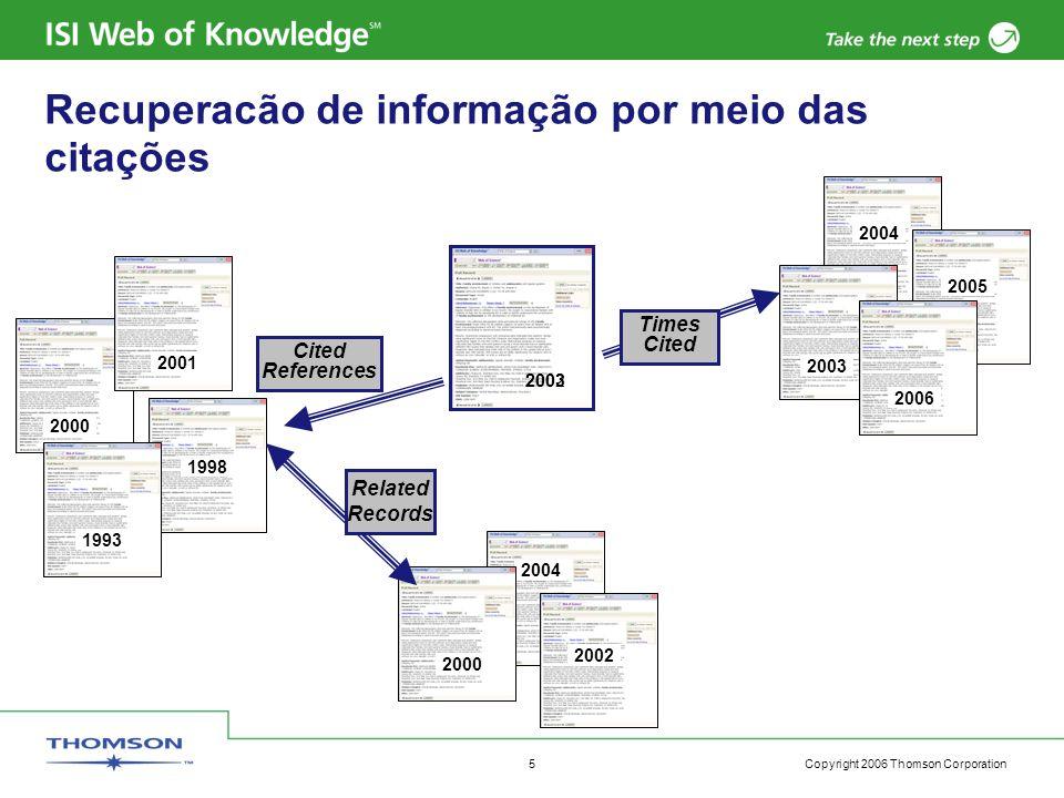 Copyright 2006 Thomson Corporation 6 Web of Science –Opções de pesquisa Geral De citações ou referências citadas Avançada