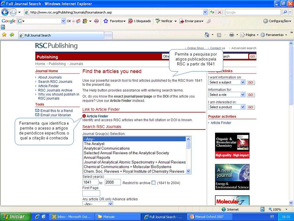 Pesquisa pelo título do periódico Refinamento da pesquisa pelo ano de publicação
