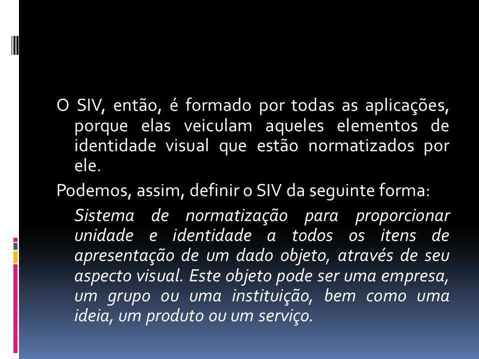 O SIV, então, é formado por todas as aplicações, porque elas veiculam aqueles elementos de identidade visual que estão normatizados por ele. Podemos,