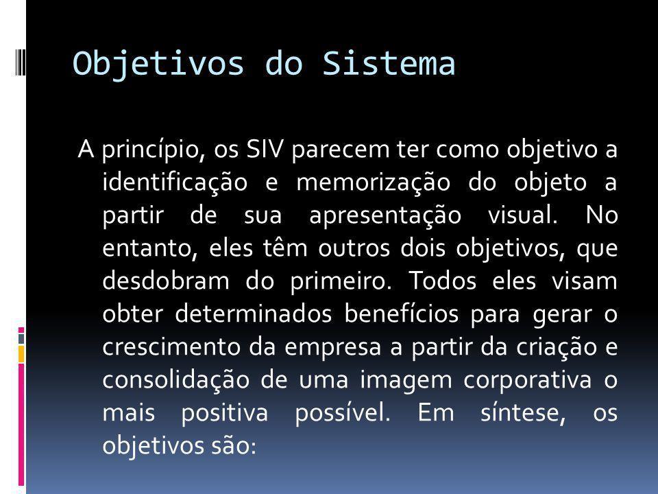 Objetivos do Sistema A princípio, os SIV parecem ter como objetivo a identificação e memorização do objeto a partir de sua apresentação visual. No ent