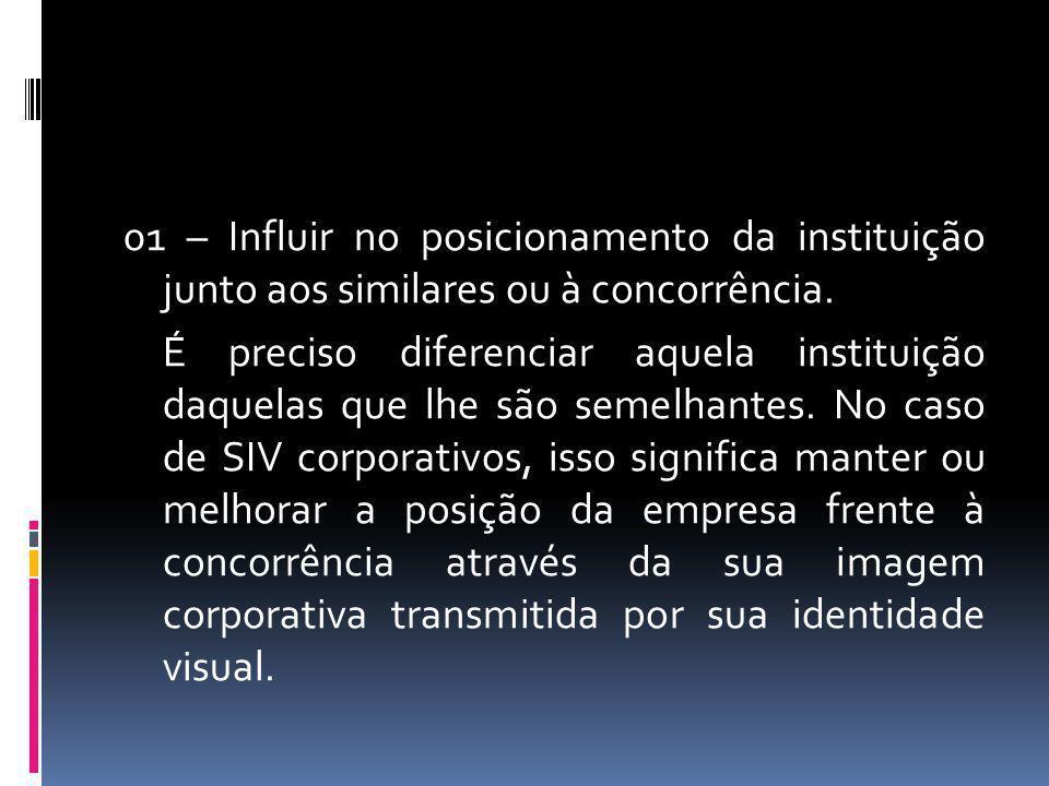 01 – Influir no posicionamento da instituição junto aos similares ou à concorrência. É preciso diferenciar aquela instituição daquelas que lhe são sem