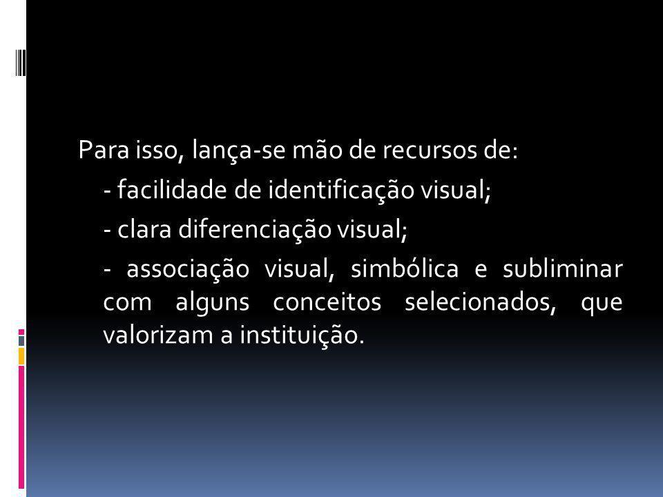 Para isso, lança-se mão de recursos de: - facilidade de identificação visual; - clara diferenciação visual; - associação visual, simbólica e sublimina