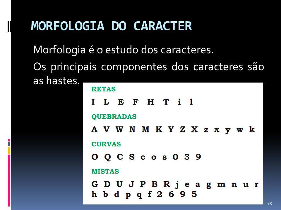 MORFOLOGIA DO CARACTER Morfologia é o estudo dos caracteres. Os principais componentes dos caracteres são as hastes. 18