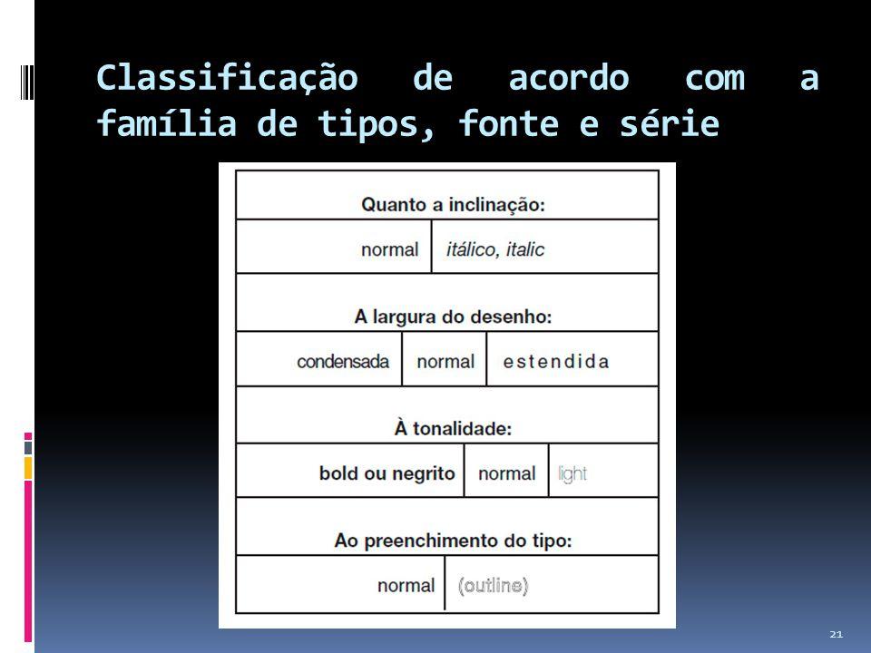 Classificação de acordo com a família de tipos, fonte e série 21