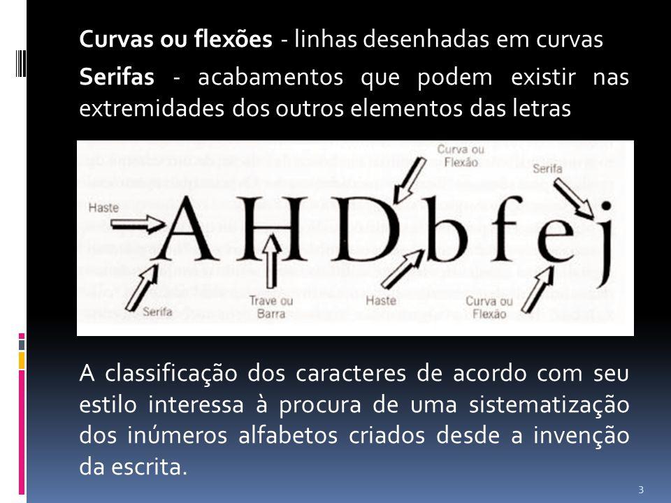 Curvas ou flexões - linhas desenhadas em curvas Serifas - acabamentos que podem existir nas extremidades dos outros elementos das letras A classificaç