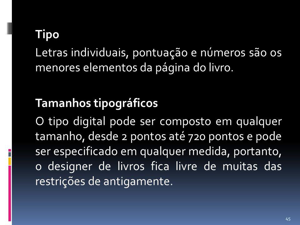 Tipo Letras individuais, pontuação e números são os menores elementos da página do livro. Tamanhos tipográficos O tipo digital pode ser composto em qu