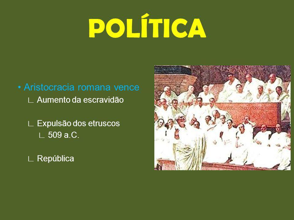 Aristocracia romana vence Aumento da escravidão Expulsão dos etruscos 509 a.C. República POLÍTICA