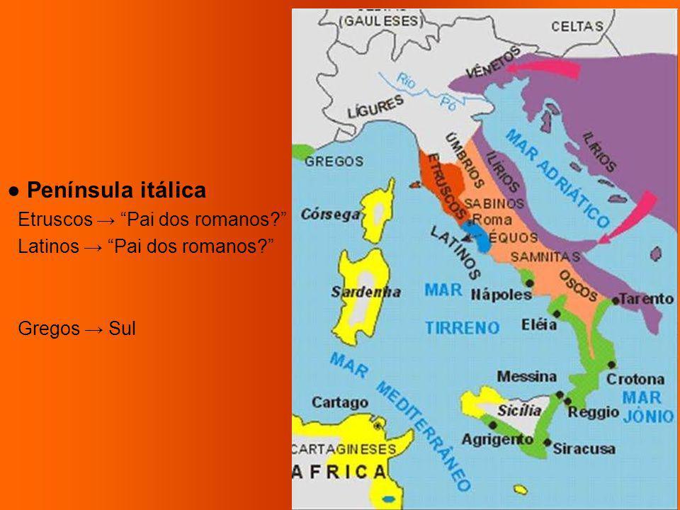 Península itálica Etruscos Pai dos romanos? Latinos Pai dos romanos? Gregos Sul