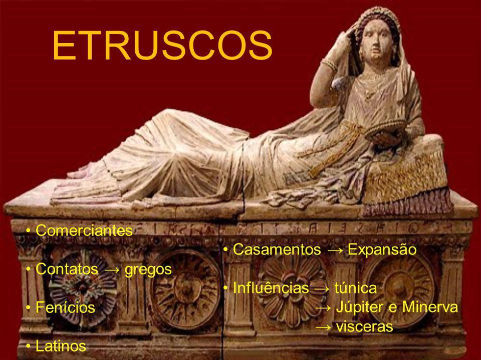 ETRUSCOS Comerciantes Contatos gregos Fenícios Latinos Casamentos Expansão Influências túnica Júpiter e Minerva visceras