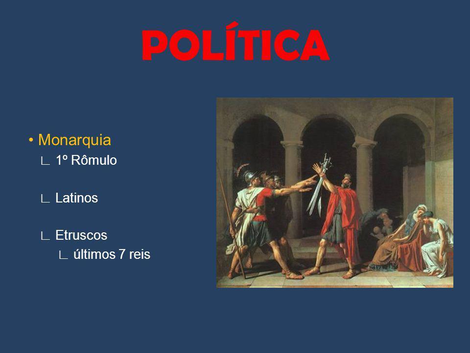 Monarquia 1º Rômulo Latinos Etruscos últimos 7 reis POLÍTICA
