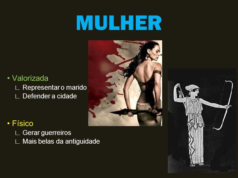 MULHER Valorizada Representar o marido Defender a cidade Físico Gerar guerreiros Mais belas da antiguidade
