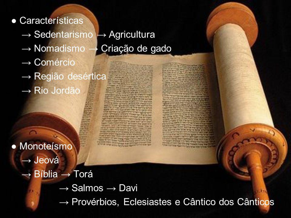 Características Sedentarismo Agricultura Nomadismo Criação de gado Comércio Região desértica Rio Jordão Monoteísmo Jeová Bíblia Torá Salmos Davi Prové