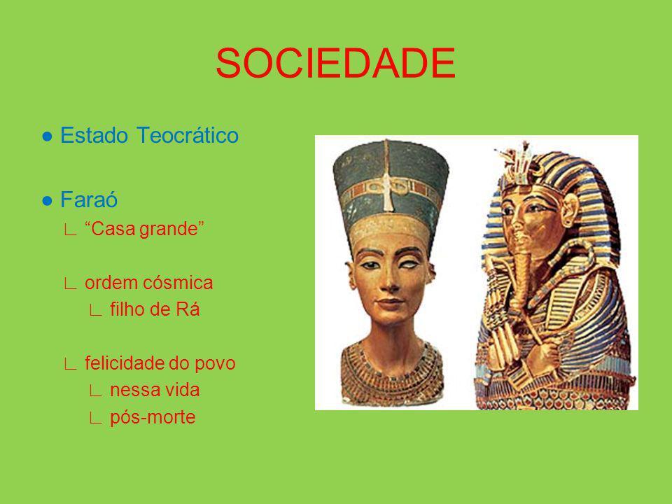 SOCIEDADE Estado Teocrático Faraó Casa grande ordem cósmica filho de Rá felicidade do povo nessa vida pós-morte