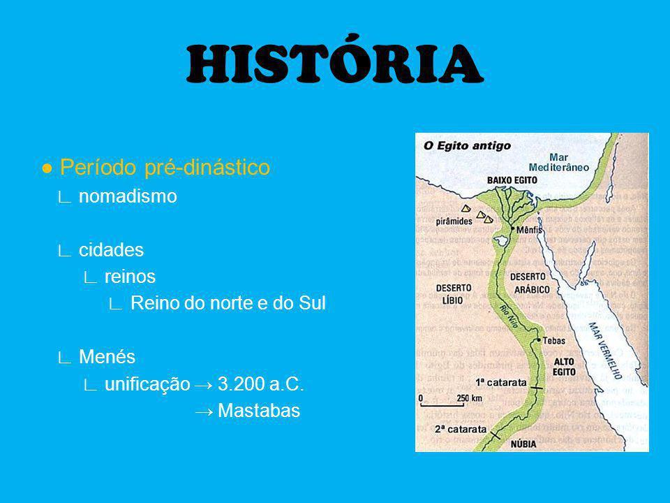 HISTÓRIA Período pré-dinástico nomadismo cidades reinos Reino do norte e do Sul Menés unificação 3.200 a.C. Mastabas