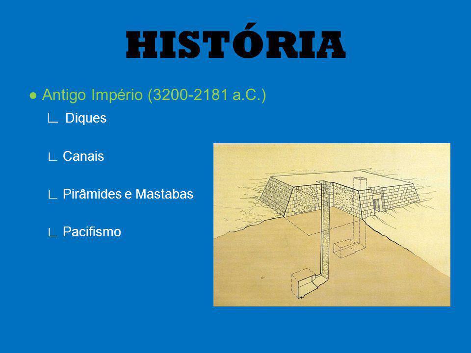 Antigo Império (3200-2181 a.C.) Diques Canais Pirâmides e Mastabas Pacifismo HISTÓRIA
