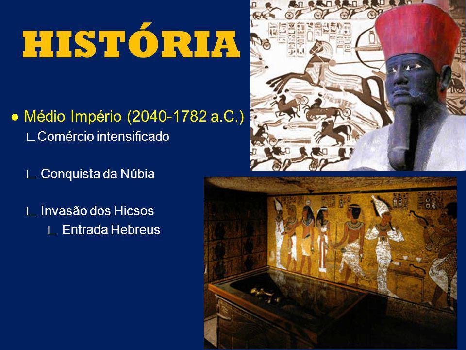 Médio Império (2040-1782 a.C.) Comércio intensificado Conquista da Núbia Invasão dos Hicsos Entrada Hebreus HISTÓRIA