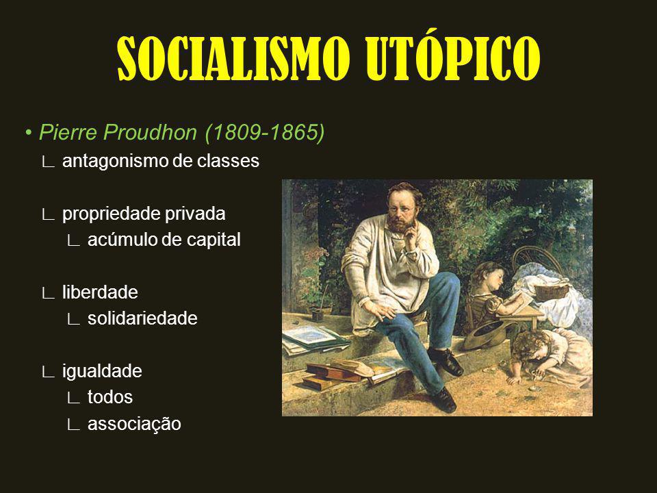 Pierre Proudhon (1809-1865) antagonismo de classes propriedade privada acúmulo de capital liberdade solidariedade igualdade todos associação SOCIALISM