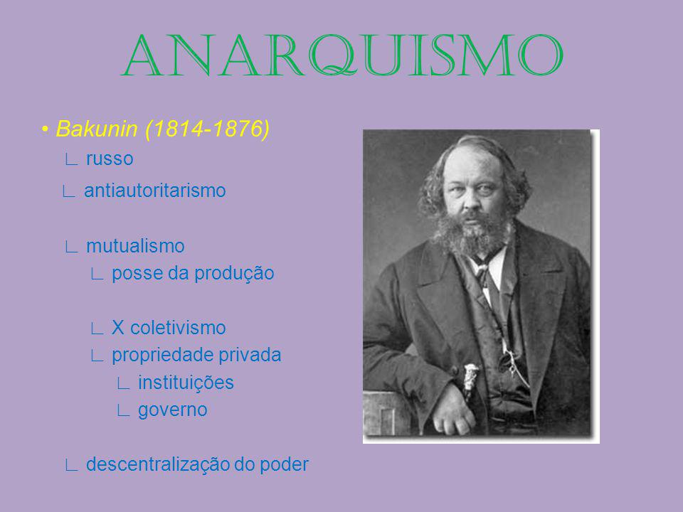 Bakunin (1814-1876) russo antiautoritarismo mutualismo posse da produção X coletivismo propriedade privada instituições governo descentralização do po