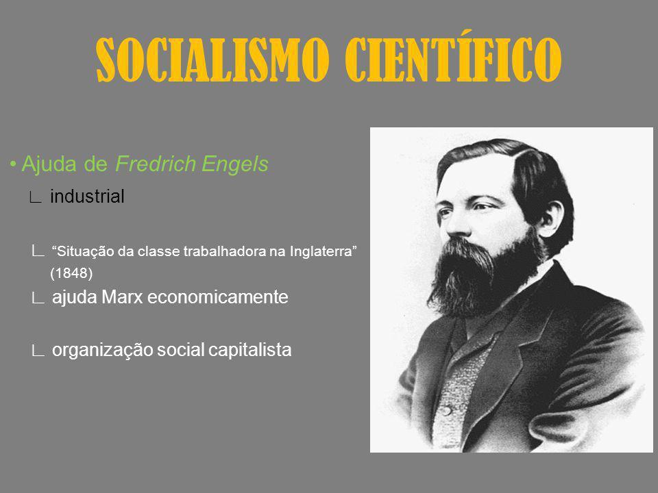 SOCIALISMO CIENTÍFICO Ajuda de Fredrich Engels industrial Situação da classe trabalhadora na Inglaterra (1848) ajuda Marx economicamente organização s