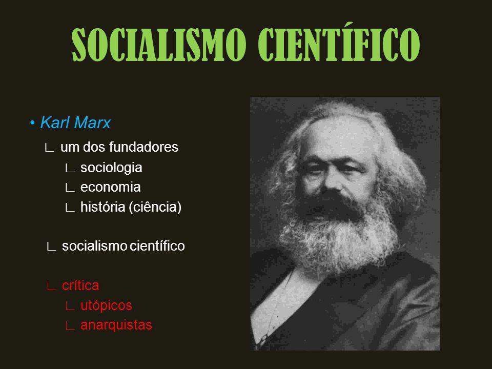 Karl Marx um dos fundadores sociologia economia história (ciência) socialismo científico crítica utópicos anarquistas SOCIALISMO CIENTÍFICO