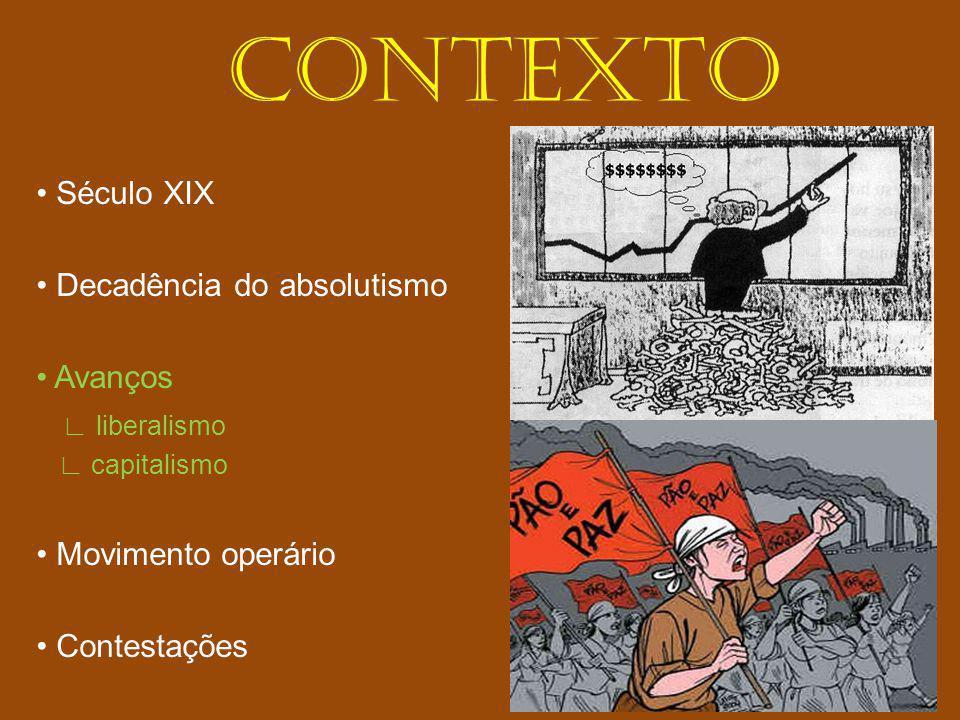 CONTEXTO Século XIX Decadência do absolutismo Avanços liberalismo capitalismo Movimento operário Contestações