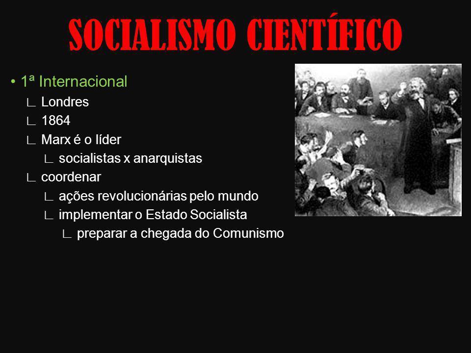 1ª Internacional Londres 1864 Marx é o líder socialistas x anarquistas coordenar ações revolucionárias pelo mundo implementar o Estado Socialista prep