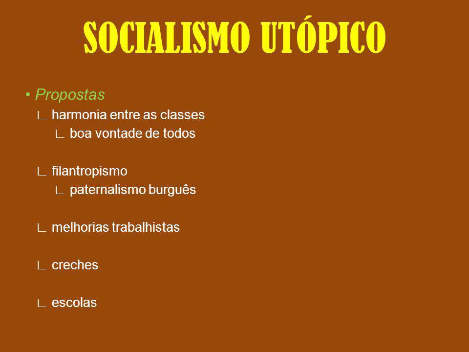 SOCIALISMO UTÓPICO Propostas harmonia entre as classes boa vontade de todos filantropismo paternalismo burguês melhorias trabalhistas creches escolas
