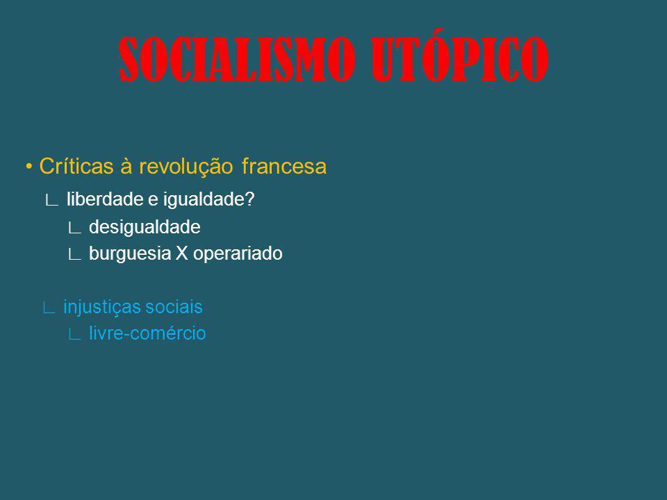 SOCIALISMO UTÓPICO Críticas à revolução francesa liberdade e igualdade? desigualdade burguesia X operariado injustiças sociais livre-comércio