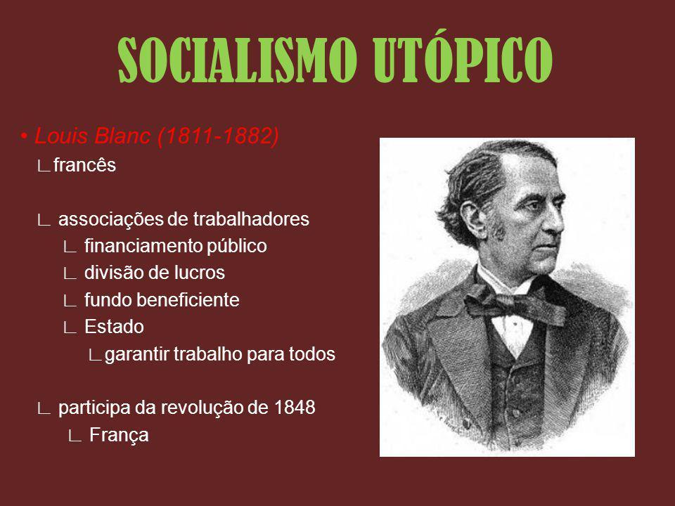 Louis Blanc (1811-1882) francês associações de trabalhadores financiamento público divisão de lucros fundo beneficiente Estado garantir trabalho para