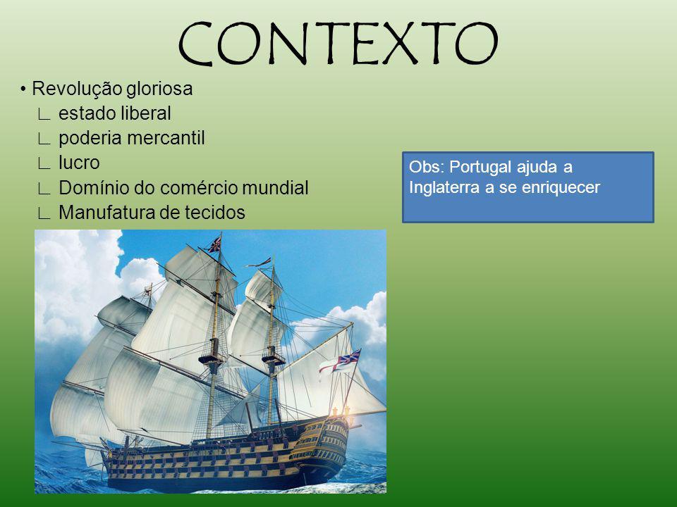 CONTEXTO Revolução gloriosa estado liberal poderia mercantil lucro Domínio do comércio mundial Manufatura de tecidos Obs: Portugal ajuda a Inglaterra