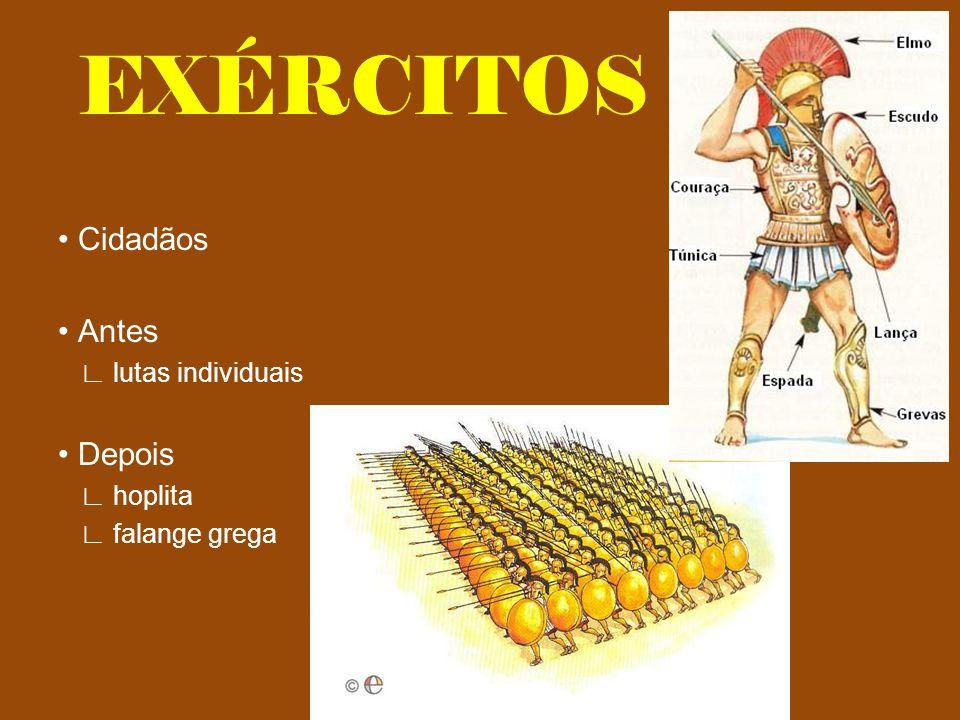 EXÉRCITOS Cidadãos Antes lutas individuais Depois hoplita falange grega