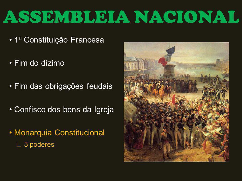 ASSEMBLEIA NACIONAL 1ª Constituição Francesa Fim do dízimo Fim das obrigações feudais Confisco dos bens da Igreja Monarquia Constitucional 3 poderes