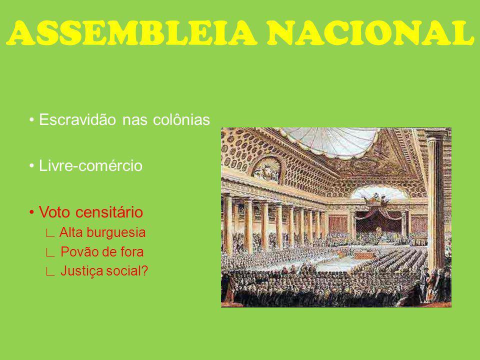 ASSEMBLEIA NACIONAL Escravidão nas colônias Livre-comércio Voto censitário Alta burguesia Povão de fora Justiça social?