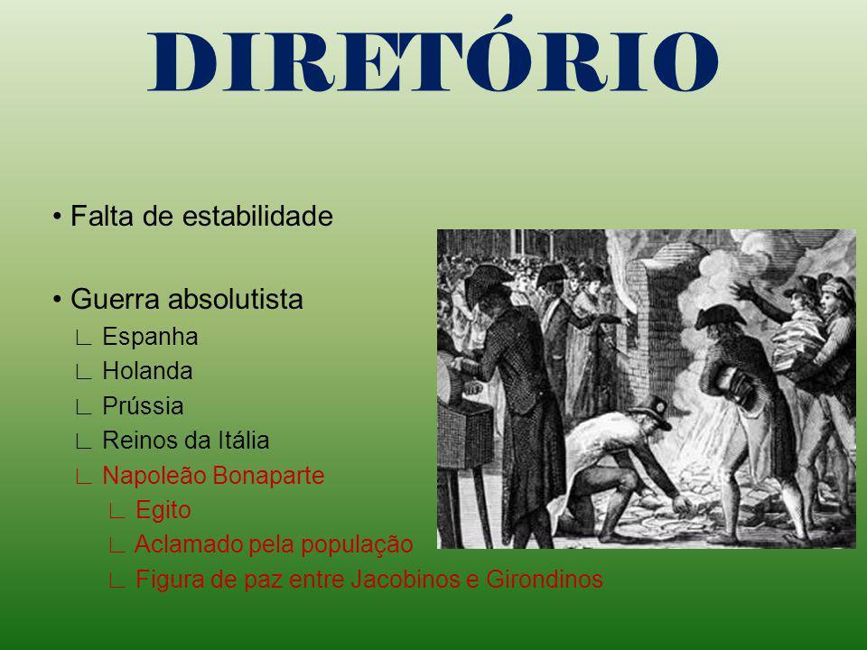 DIRETÓRIO Falta de estabilidade Guerra absolutista Espanha Holanda Prússia Reinos da Itália Napoleão Bonaparte Egito Aclamado pela população Figura de