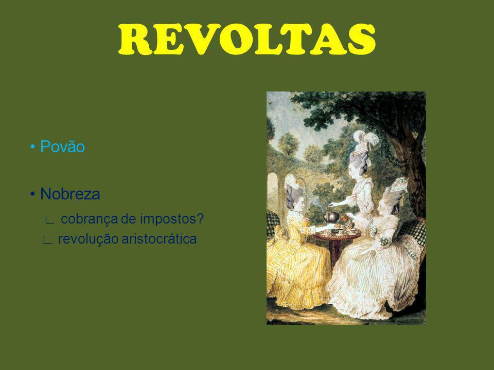 REVOLTAS Povão Nobreza cobrança de impostos? revolução aristocrática